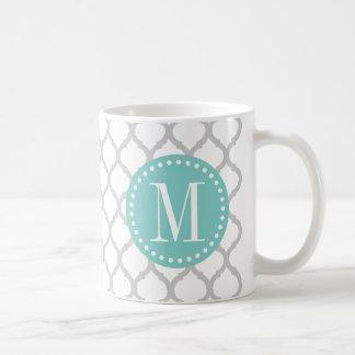 Light Gray & White Moroccan Pattern with Monogram Coffee Mug