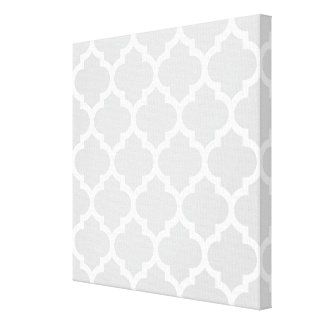Light Gray White Moroccan Quatrefoil Pattern #5 Stretched Canvas Print