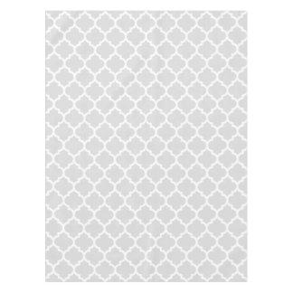 Light Gray White Moroccan Quatrefoil Pattern #5 Tablecloth