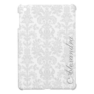 Light  Gray & White Ornate Vintage Damasks Pattern iPad Mini Covers