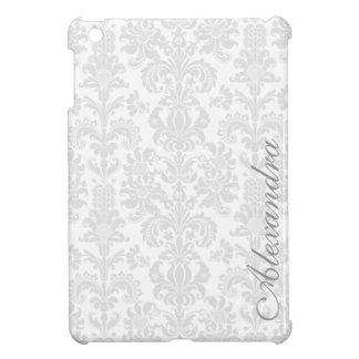 Light  Gray & White Ornate Vintage Damasks Pattern iPad Mini Covers