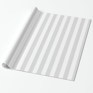 Light Gray White XL Stripes Pattern Wrapping Paper