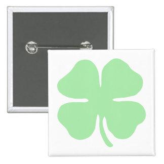 light green 4 leaf clover shamrock png pinback button