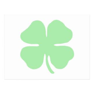 light green 4 leaf clover shamrock.png postcard