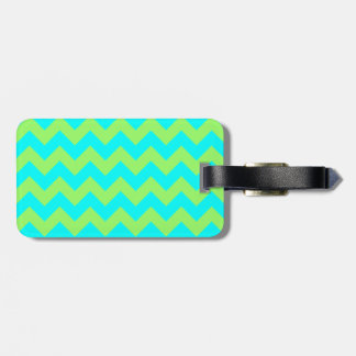 Light Green and Aqua Zigzag Luggage Tag