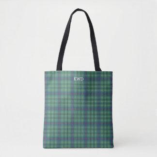 Light Green and Blue Plaid Duncan Tartan Monogram Tote Bag