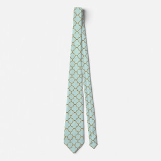 light green and gold Moroccan pattern Tie