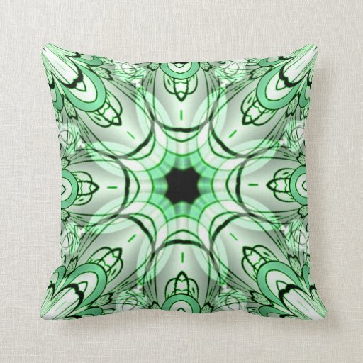 Light Green and Grey Geometric American MoJo Pillo Throw Pillows
