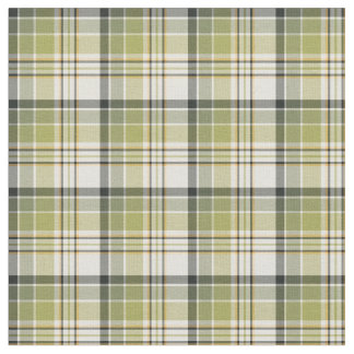 Light Green and Navy Blue Rustic Plaid Fabric
