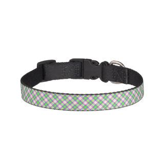 Light Green and Pink Plaid Dog Collar
