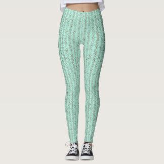 Light Green and Tan Pattern Leggings