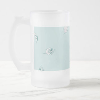 Light Green and White Leaves Frosted Glass Beer Mug