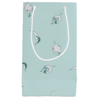 Light Green and White Leaves Small Gift Bag
