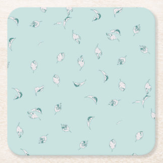 Light Green and White Leaves Square Paper Coaster