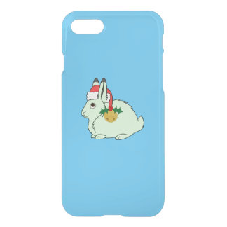 Light Green Arctic Hare - Santa Hat & Gold Bell iPhone 7 Case