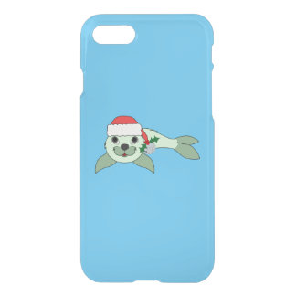 Light Green Baby Seal with Santa Hat & Silver Bell iPhone 7 Case