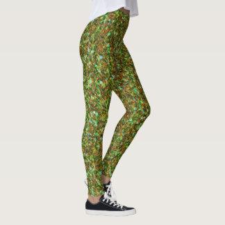 Light Green & Brown Glitter Texture Leggings