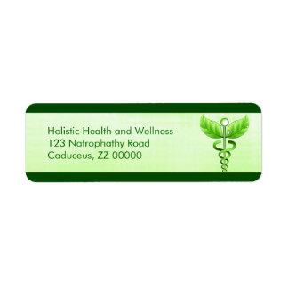 Light Green Caduceus Alternative Medicine Icon Return Address Label