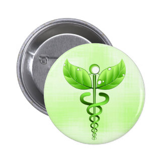 Light Green Caduceus Alternative Medicine Symbol 6 Cm Round Badge
