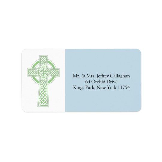 Light Green Celtic Cross with Return Address Address Label