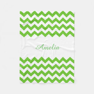 Light Green Chevron Fleece Blanket