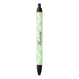 Light Green Chevron Lines Black Ink Pen
