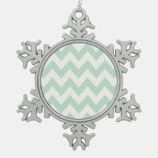 Light Green Chevron Pewter Snowflake Decoration