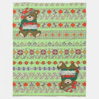 Light green Christmas Decor Fleece Blanket, Large