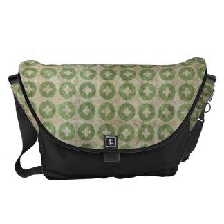 Light Green Circle Cross Pattern Messenger Bags