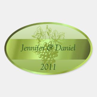 Light Green Custom Wine Labels Oval Sticker