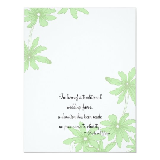 Light Green Daisies Wedding Charity Favour Card