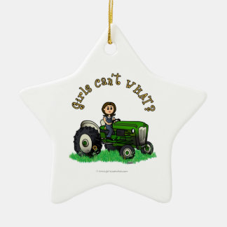Light Green Farmer Girl Ceramic Ornament