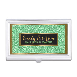Light Green Fax Glitter Gold Accents Makeup Business Card Holder