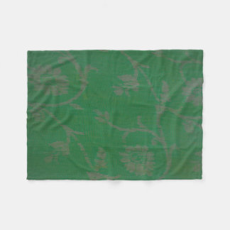 light green field with silver design fleece blanket