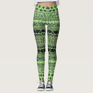 Light Green Fish and Ferns Patterned Leggings