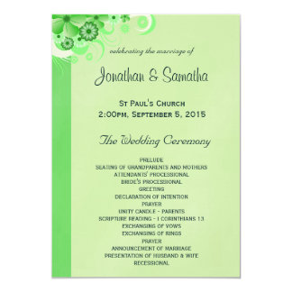 Light Green Floral Flat Wedding Program Templates 13 Cm X 18 Cm Invitation Card