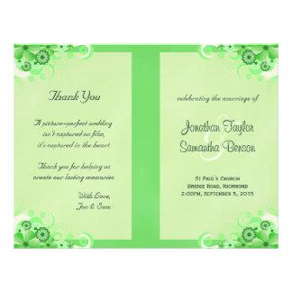Light Green Floral Folded Wedding Program 21.5 Cm X 28 Cm Flyer