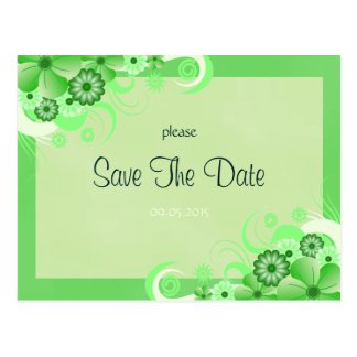 Light Green Floral Save The Date Announcement Card Postcard