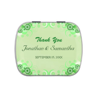 Light Green Floral Square Wedding Favor Candy Tins