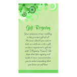 Light Green Floral Wedding Gift Registry Cards Pack Of Standard Business Cards