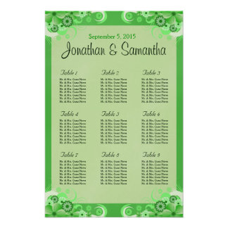 Light Green Floral Wedding Table Seating Chart Poster