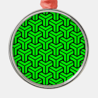 Light Green Geometric Pattern Silver-Colored Round Decoration