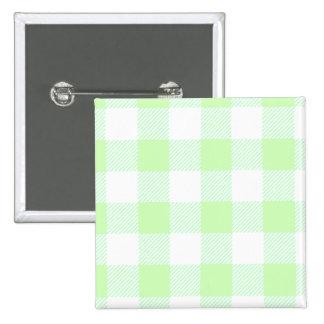light green gingham check 15 cm square badge