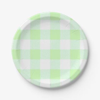 light green gingham check paper plate