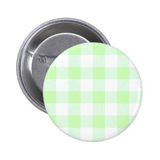 Light Green Gingham Check Pattern 6 Cm Round Badge