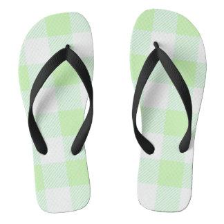 light green gingham check pattern thongs