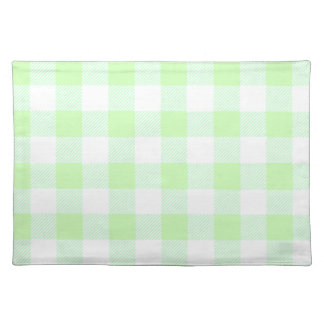light green gingham check placemat
