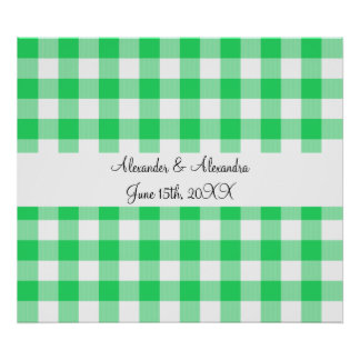 Light green gingham pattern wedding favors poster
