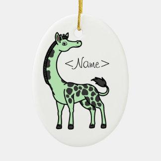 Light Green Giraffe with Black Spots Ceramic Ornament
