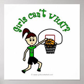 Light Green Girls Basketball Poster